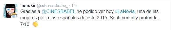 Tweet La Novia Pelicula